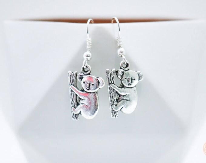 Australian Koala Silver Drop Earrings.