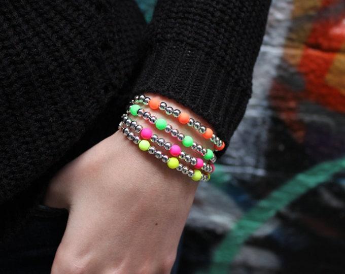 Fluro neon and silver bracelet. Pick your colour.