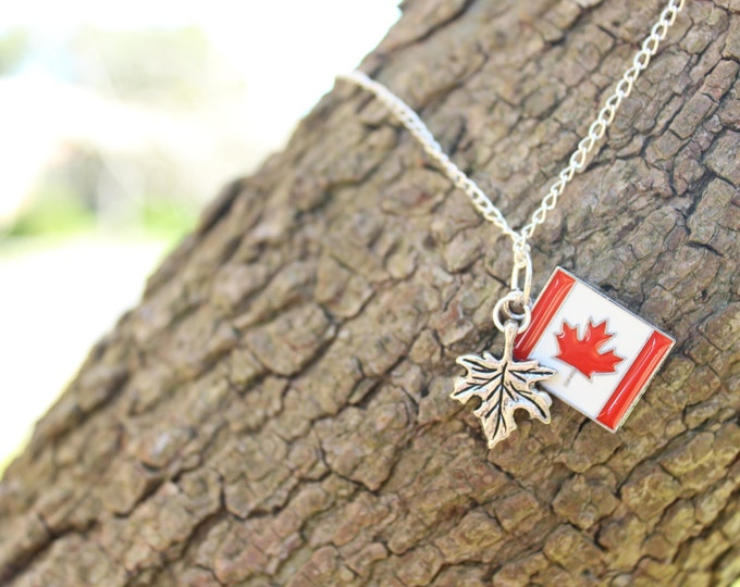 SALE Oh Canada, Canadian pride maple leaf travel necklace.