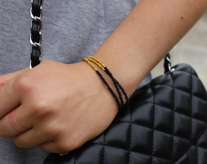 Beaded Gold and Black Dip Dye Bracelet. Ombre Bracelet.