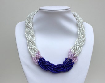 Navy blue and purple dip dyed braided bib statement necklace.