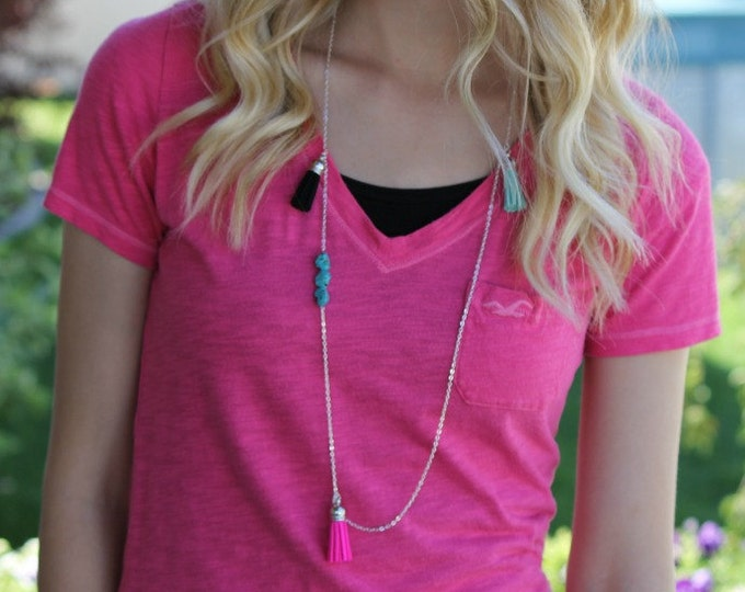 Funky Turquoise Neon Pink and Black Tassel Necklace. Collaboration piece with Stripes in Bloom.