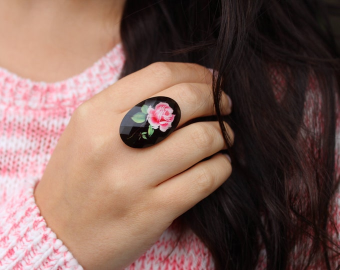 SALE Adjustable Pink and Black Rose Cameo Ring.