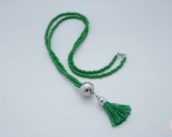 SALE Beaded Grass Green Tassel Necklace.