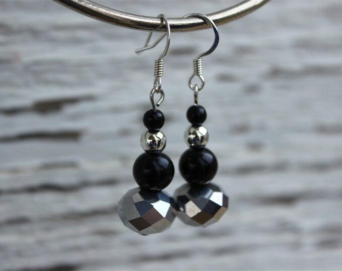 Metallic Party Earrings in Silver and Black, Silver earrings.