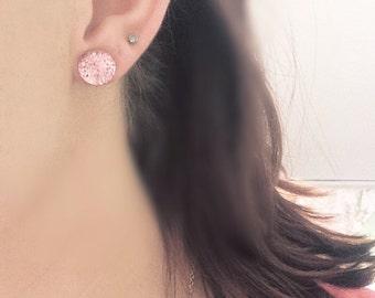 SALE Pink bubble post stud earrings.