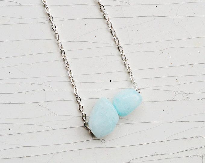 Pastel blue quartz necklace.