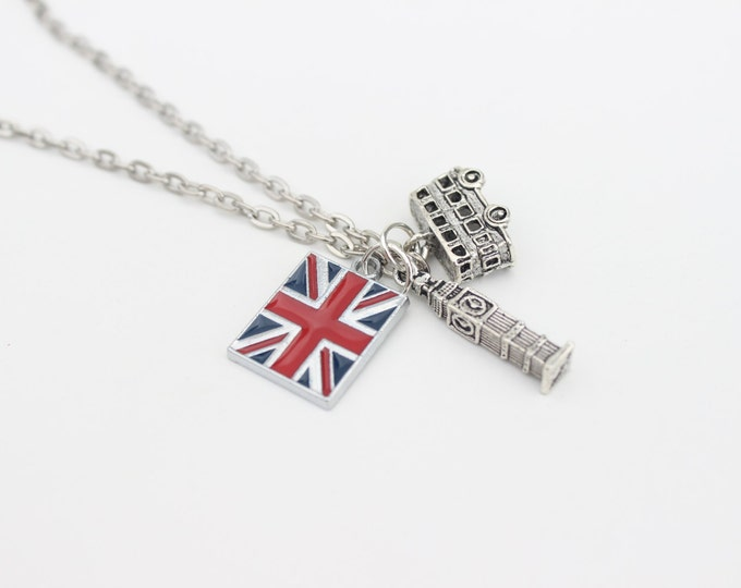 London's calling, British, union jack travel charm necklace.