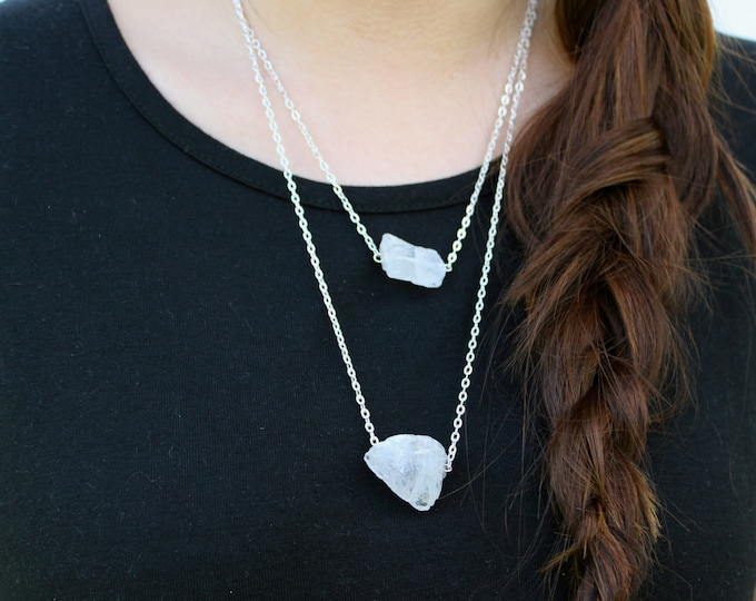 SALE Clear Crystal Layered Necklace.
