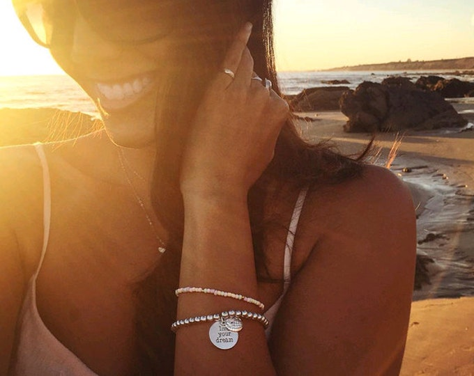 Live your dream, Silver Beaded Travel Bracelet.