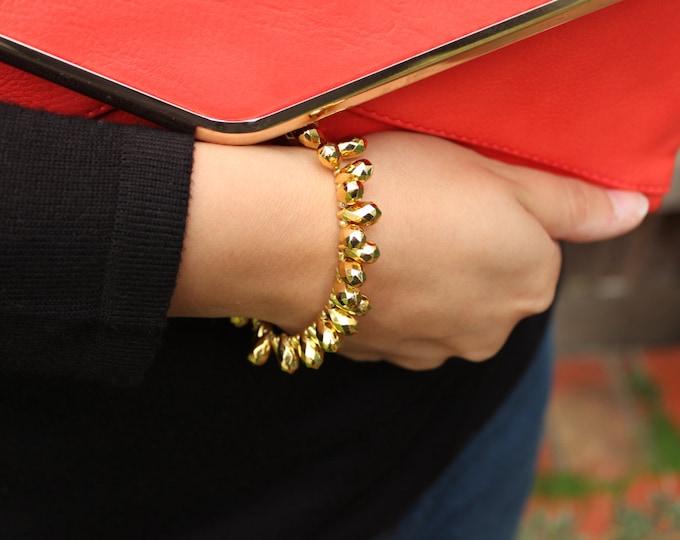 SALE Gold Statement Spike, Teardrop Bracelet.
