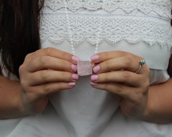 Rose Quartz Stone Necklace.