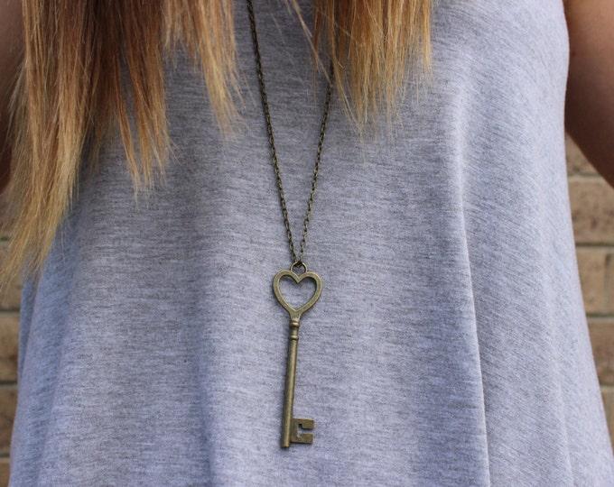 Antique Bronze Heart Key Necklace.