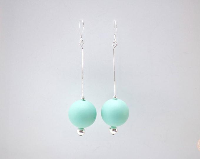 Round Mint Big Drop Earrings.
