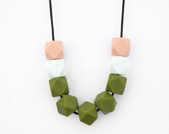 The Khaki Collection | The Army Brat, Necklace - Khaki and White.