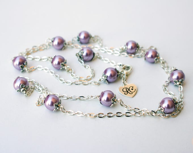 Long Silver and Lilac Beaded Necklace.