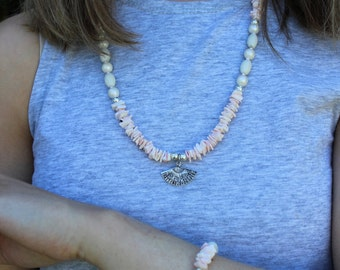 SALE Pink Shell Beach Necklace.