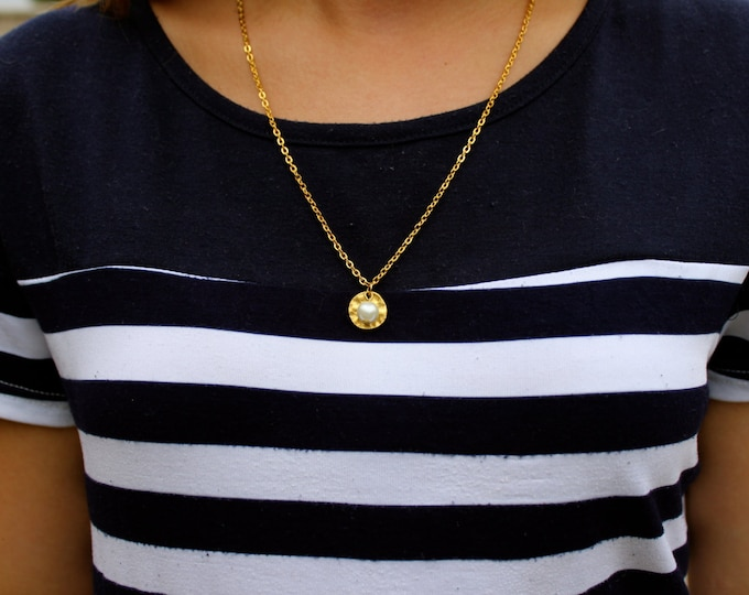 24k Gold Circle Pearl Necklace.
