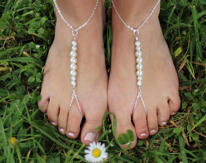Bridal Barefoot Sandals, Beach Wedding Jewelery.