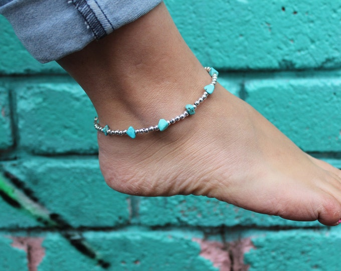 Silver and Turquoise Beaded Anklet.