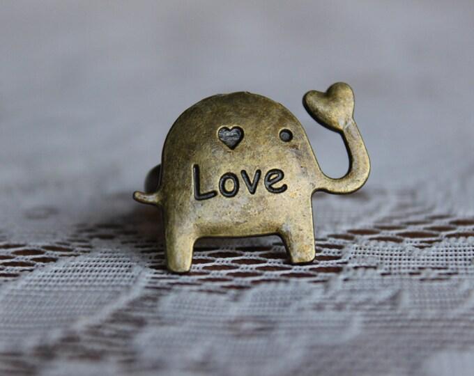 I Love elephants bronze adjustable ring.