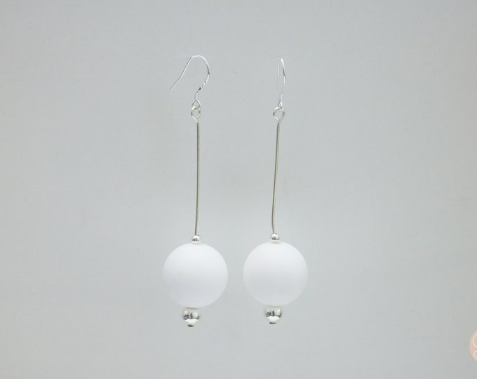 Snow White silicone ball Drop Earrings.
