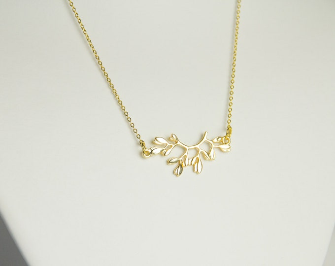 Golden branch pendant necklace
