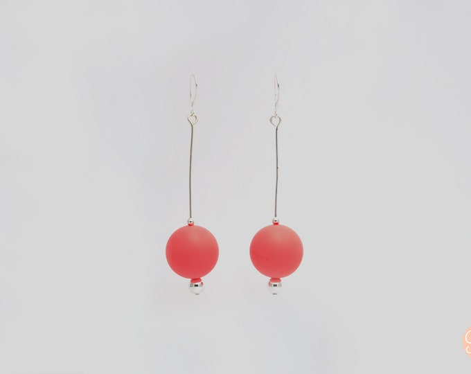 Watermelon silicone ball Drop Earrings.