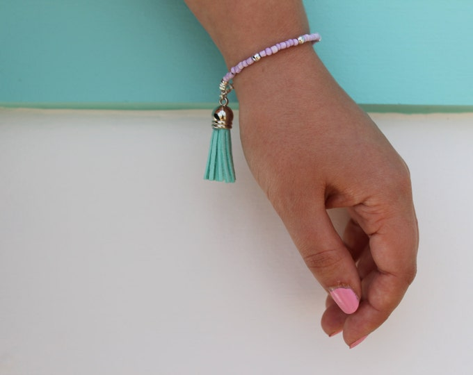 Lavender and Mint Tassel Bracelet