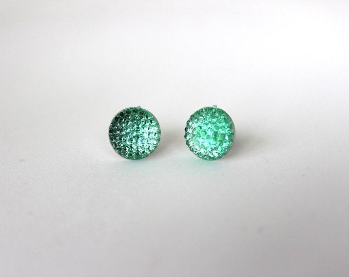 Mint bubble Light Green Post Stud Bubbly Earrings.