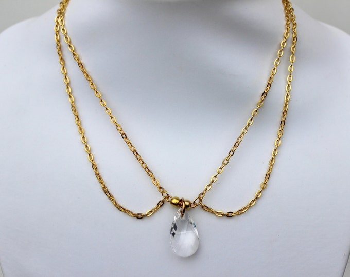 Double Strand Swarovski Crystal Necklace. Made to order.