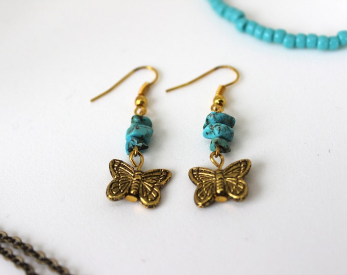 Gold Turquoise and Butterfly Dangle Earrings.