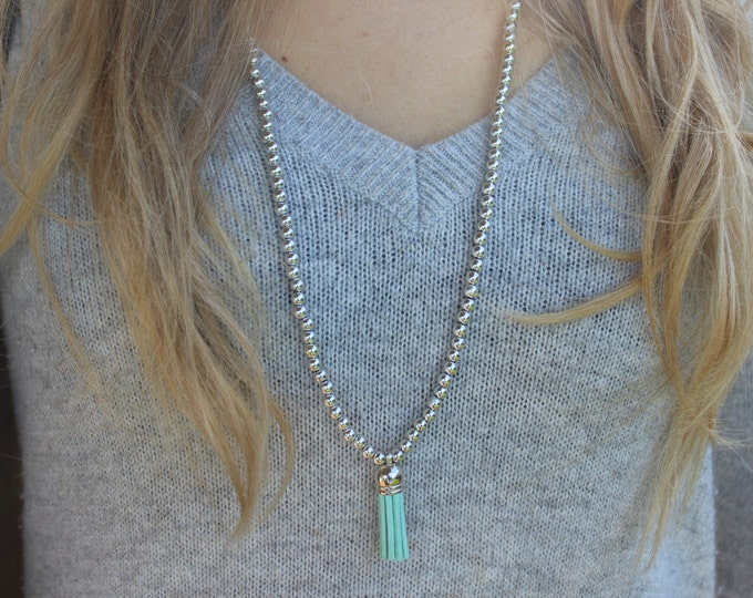Long Silver Beaded Turquoise Necklace.
