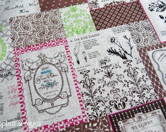 Vintage Labels and Postcards in Pink, Brown and Green - Cotton-Linen Fabric (Fat Quarter)