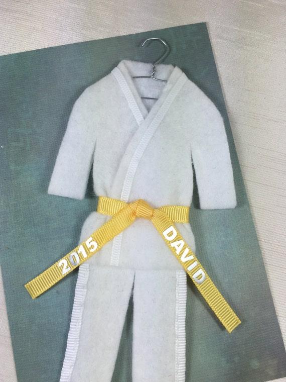 yellow belt personalized taekwondo karate christmas ornament etsy