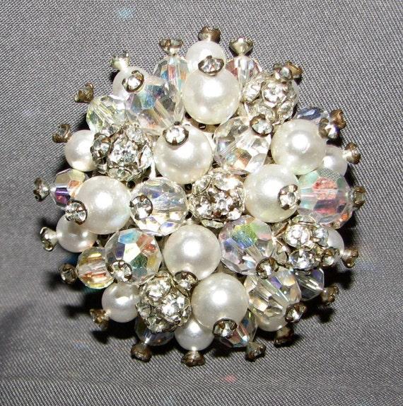 Vintage Faux Pearl AB Crystal Rhinestone Brooch P… - image 1