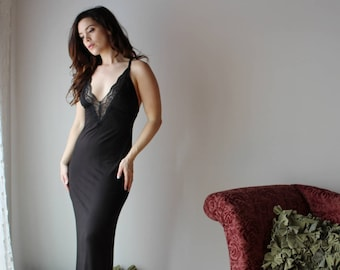 Bamboo Nightgown With Plunging Neckline, Long Nightdress, Bamboo Sleepwear, Romantic Lingerie, Long Nightgown,Boudoir Lingerie,Made To Order