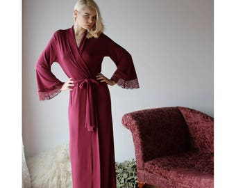 8f9c71d771 long bamboo robe with lace trimmed bell sleeves - NOUVEAU womens bamboo  sleepwear range - made to order