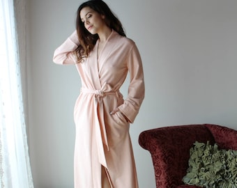 long plush robe with pockets in cotton french terry - WAFFY loungerie and loungewear range - made to order