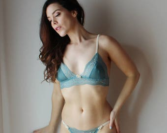 lace lingerie set with mesh cup triangle bralette and full back bikini panty - JESTER - made to order