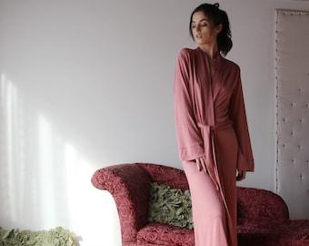 womens long robe with pockets in sweater knit wool blend - lounge wear lingerie and sleepwear range MALLARD - made to order