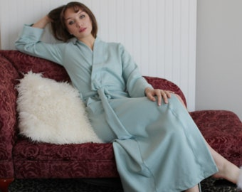 Womens Robe in Tencel and Organic Cotton Plush Stretch Fleece, Long Robe, Warm Robe, Ready to Ship, Size XS
