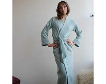 Womens Robe in Tencel and Organic Cotton Plush Stretch Fleece in Size XL, Ready To Ship, Long Robe, Warm Robe, Belt Robe With Long Sleeves