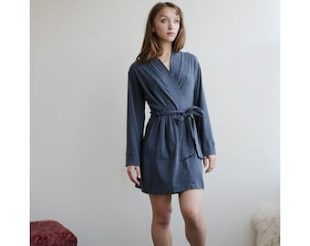 Womens short bamboo and cotton robe with pockets and long Sleeves.  Minimalist Robe e3cc9d3ba