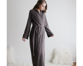 Merino Wool Robe in Full Length, Warm Robe, Merino Wool, Wool Sleepwear, Ready to Ship, Size XL, Color Taupe