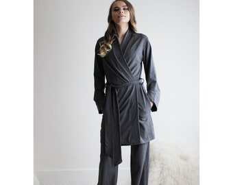 Organic Cotton pajama set including the Robe with pockets and foldover lounge pants, pocketed robe, 2 piece set, Made to Order