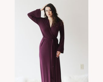 Womens Long Robe in Bamboo Jersey, Full Length Robe with long sleeves - Cathedral womens bamboo sleepwear range - made to order