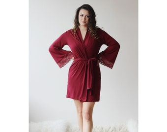 Short Bamboo Robe with lace trimmed sleeves - Cathedral womens bamboo sleepwear range - made to order