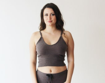 Wool Knit Camisole, Cropped Merino Wool Tank Top, Sweater, 100% Wool, Made to Order