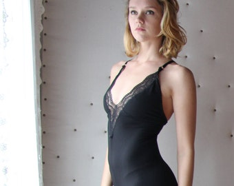 lingerie jumpsuit with plunging neckline and wide legs - ICON bamboo sleepwear and lingerie range - made to order